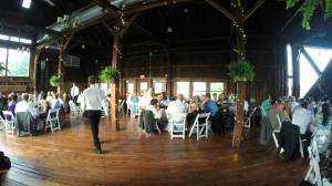The interior of the Red Barn during a wedding.